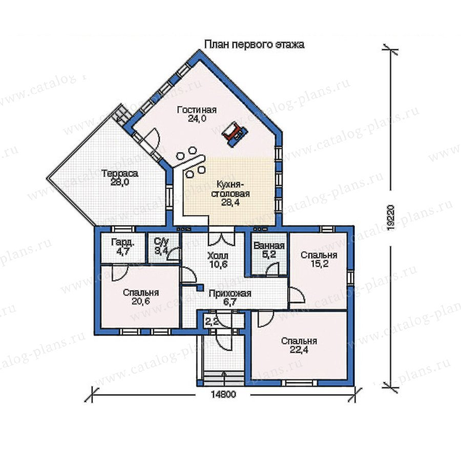 План 1-этажа проекта 52-94