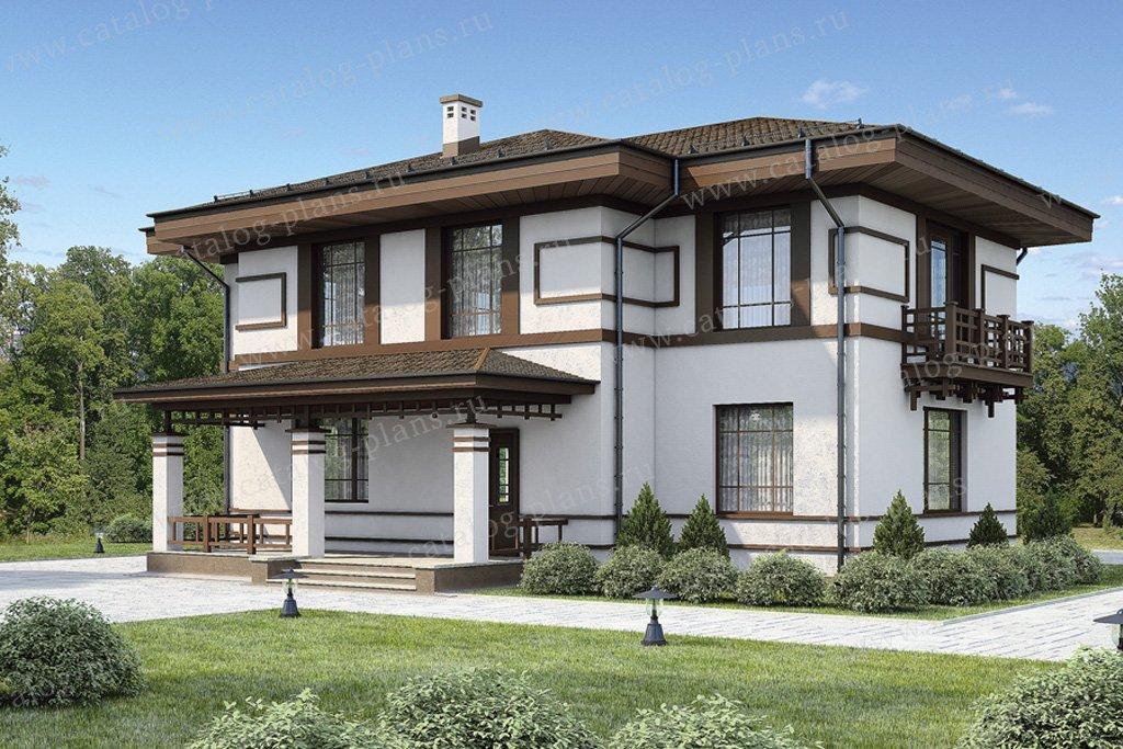 Проект жилой дом #54-49 материал - газобетон, стиль американский