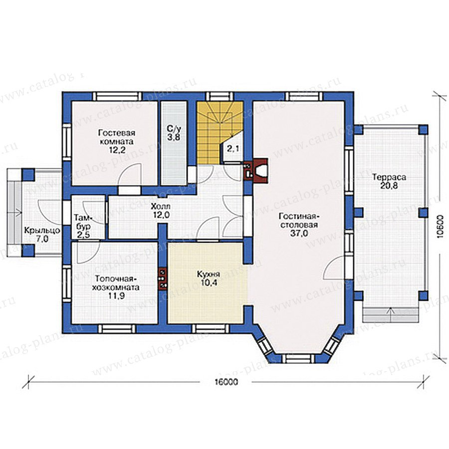 План 1-этажа проекта 54-52