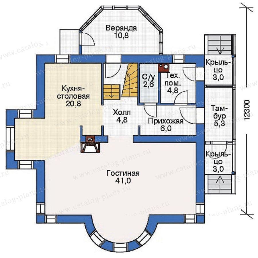 План 1-этажа проекта 54-13