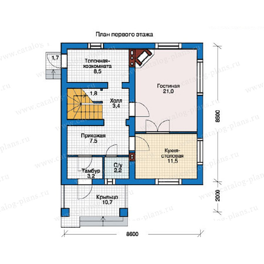 План 1-этажа проекта 55-25