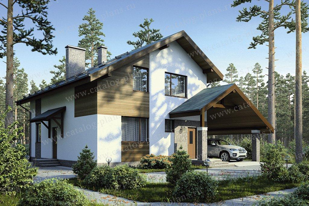 Проект жилой дом #55-46 материал - газобетон, стиль современный