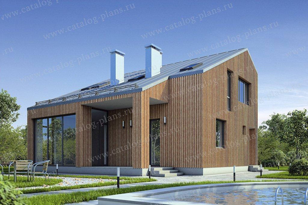 Проект жилой дом #55-49 материал - газобетон, стиль хай-тек