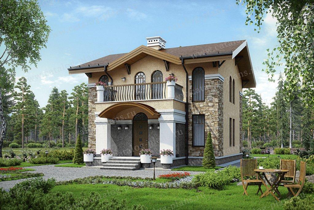 Проект жилой дом #56-92 материал - газобетон, стиль европейский