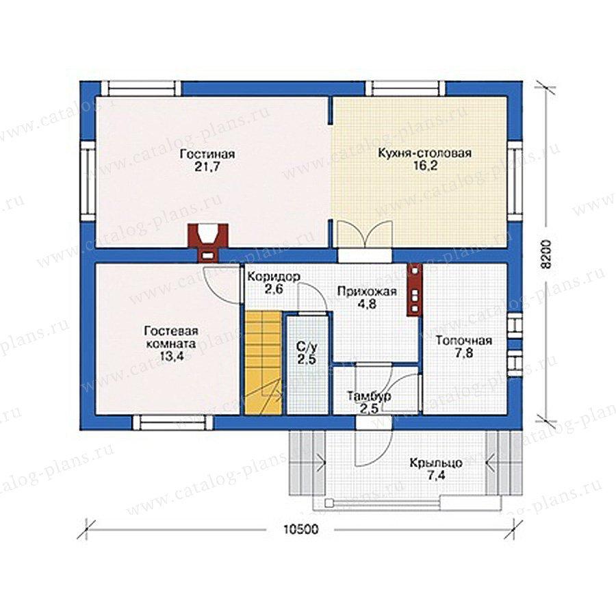 План 1-этажа проекта 55-45