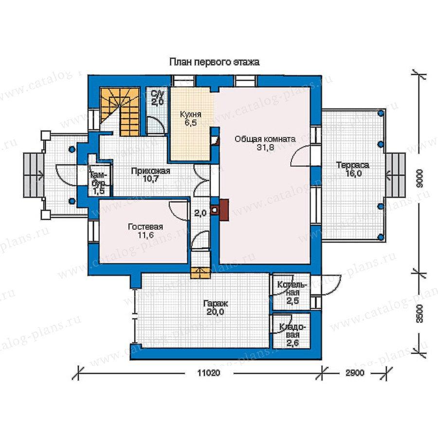 План 1-этажа проекта 55-17