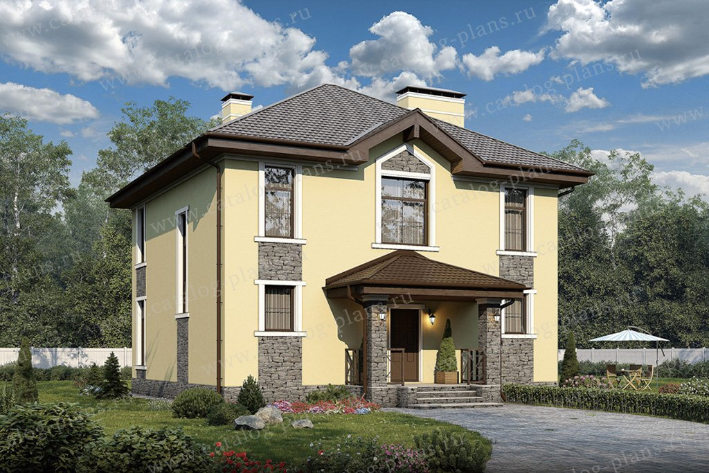 Проект жилой дом #57-12K материал - кирпич, стиль европейский