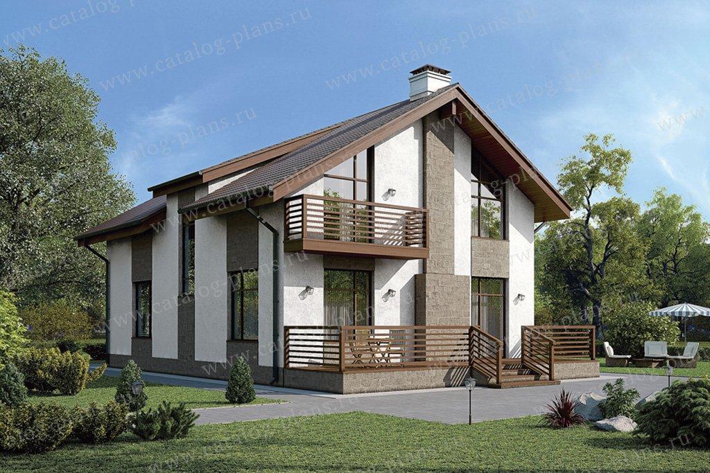 Проект жилой дом #57-10K материал - кирпич, стиль скандинавский