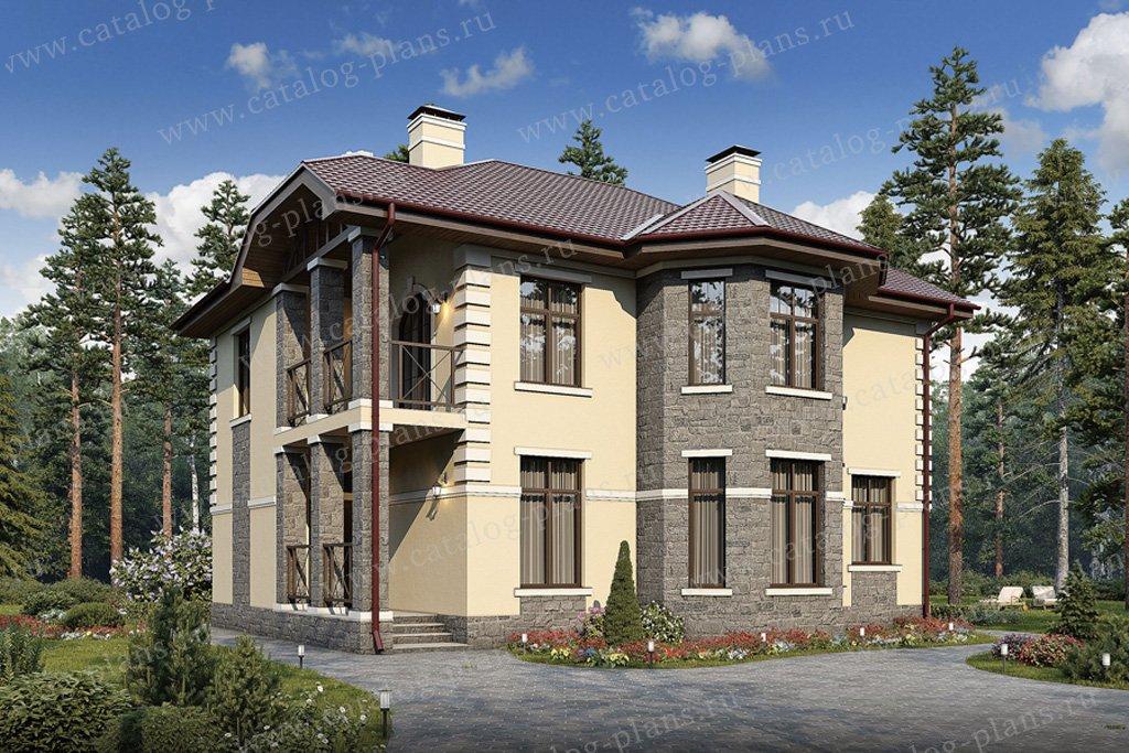 Проект жилой дом #57-14K материал - кирпич, стиль европейский