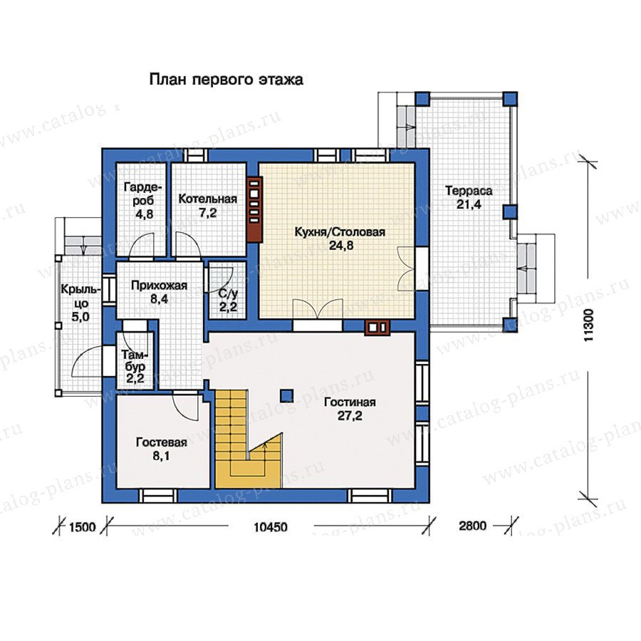 План 1-этажа проекта 57-11