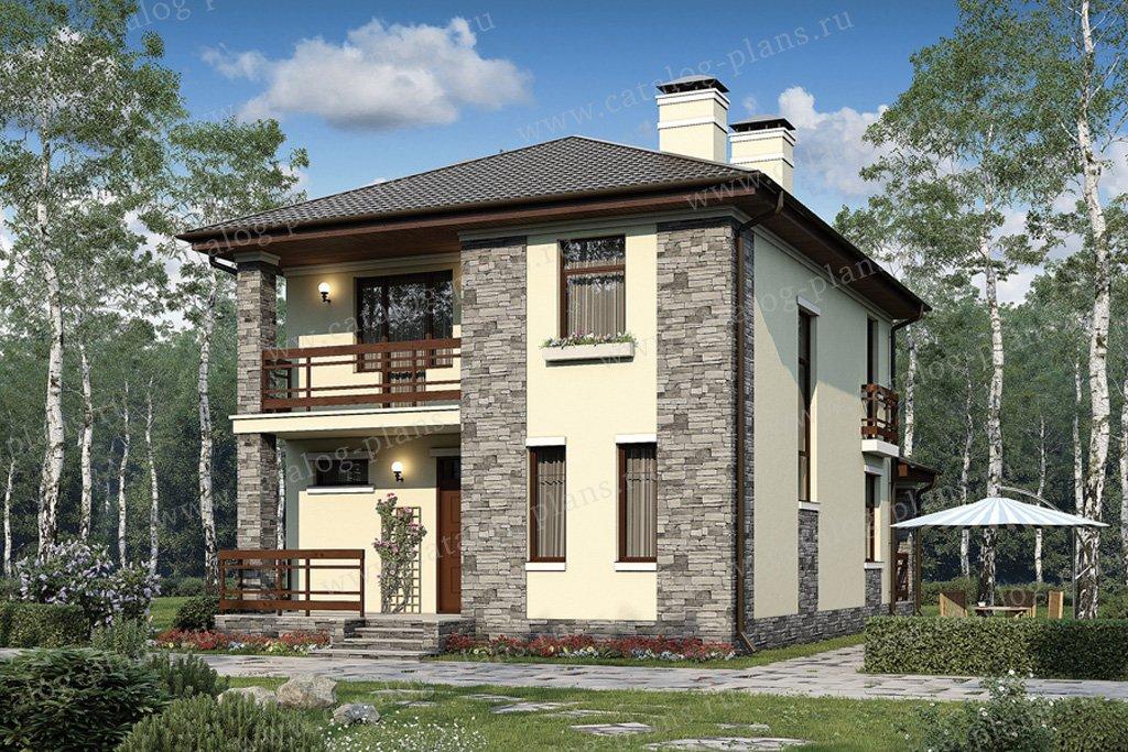 Проект двухэтажного дома из газобетона с мансардой № 57-07A в современном стиле