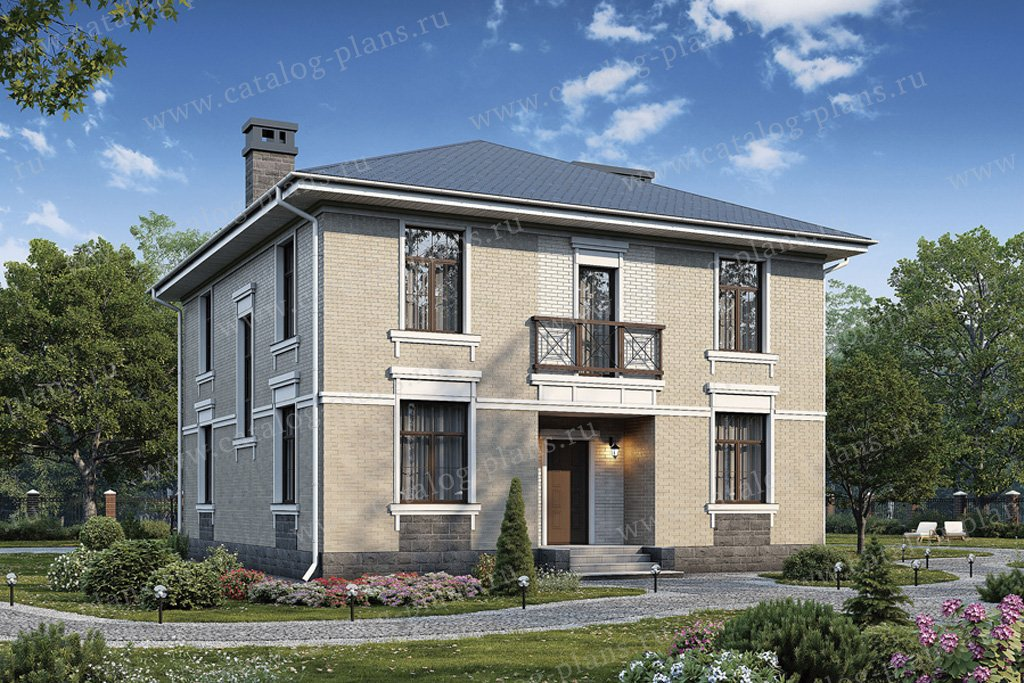 Проект жилой дом #57-23K материал - кирпич, стиль классический