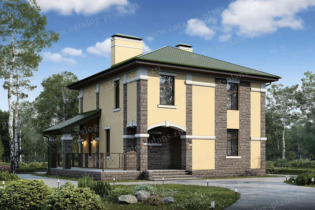 Проект жилой дом #57-02K материал - кирпич, стиль европейский