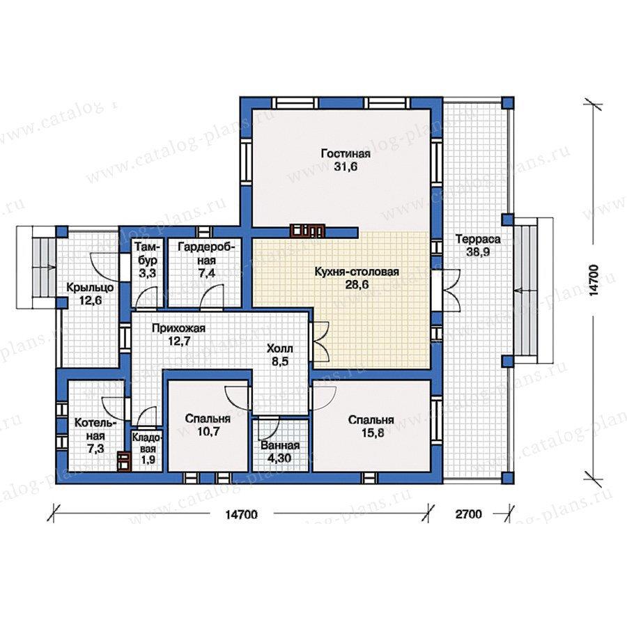 Проект одноэтажного кирпичного дома № 57-06K в европейском стиле