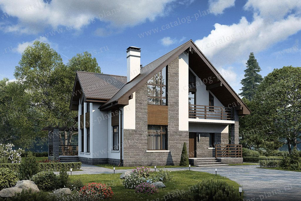 Проект жилой дом #57-00K материал - кирпич, стиль современный