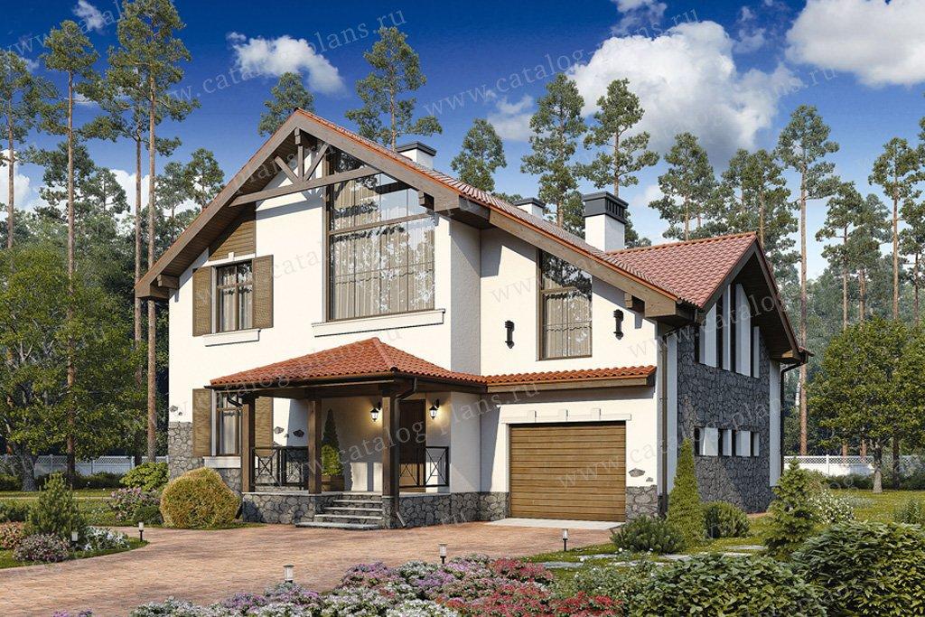 Проект жилой дом #57-22K материал - кирпич, стиль скандинавский