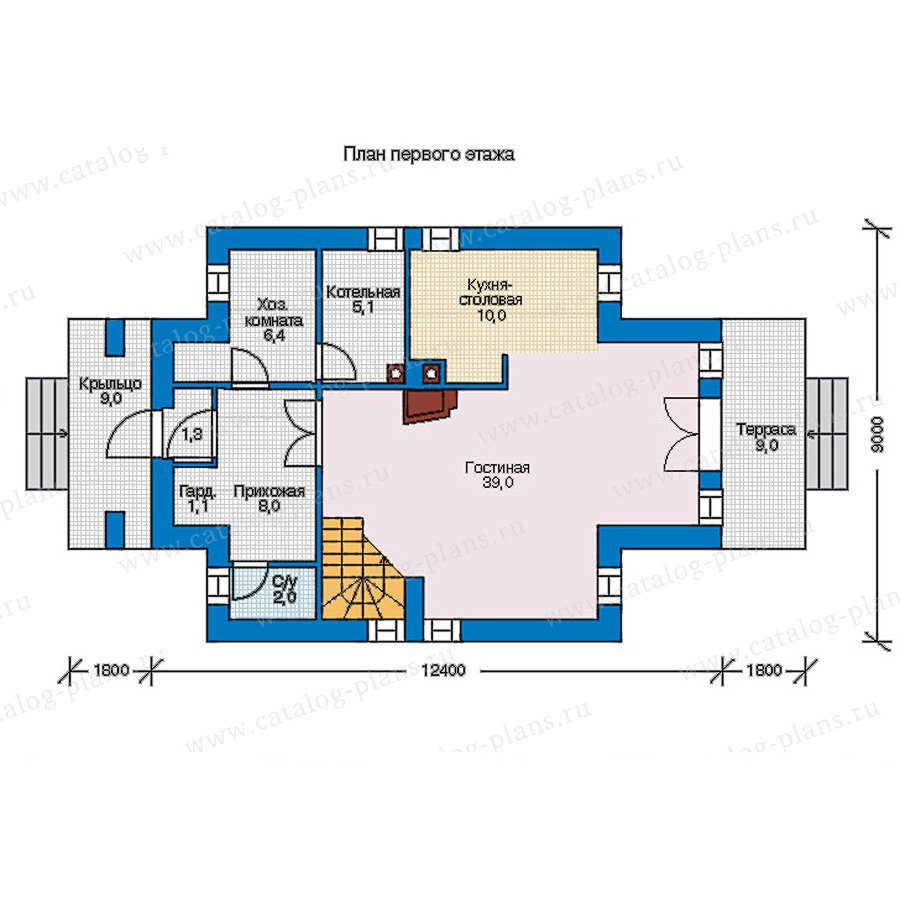 План 1-этажа проекта 56-93