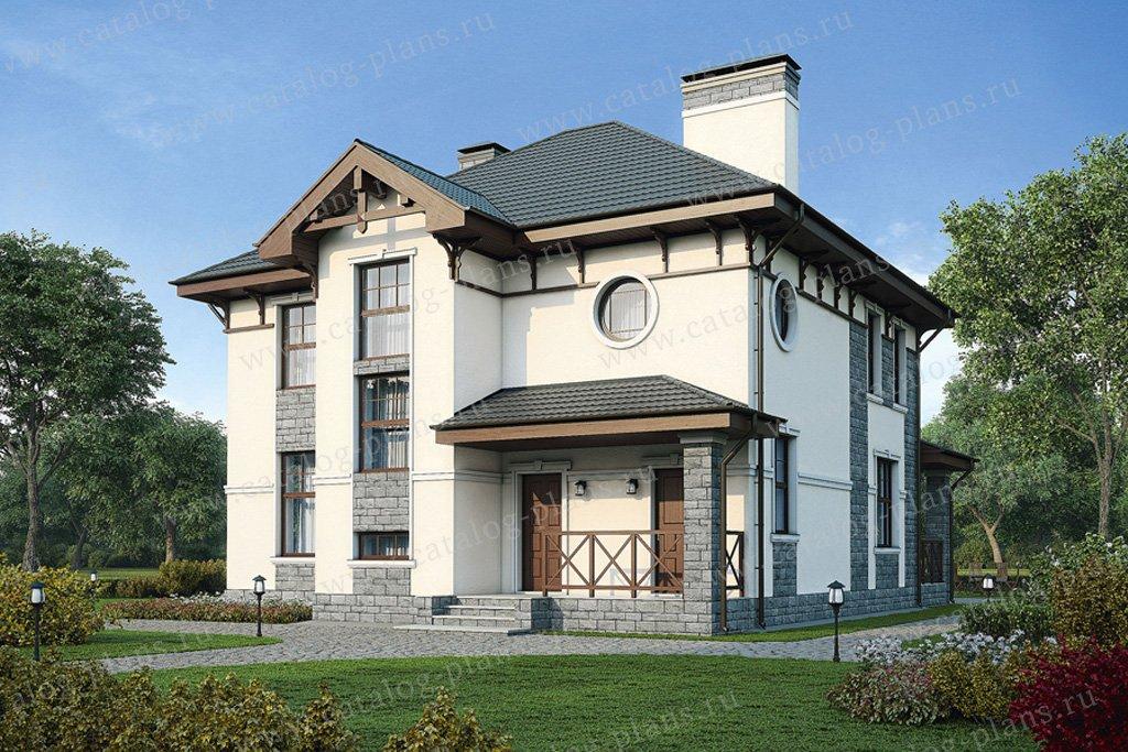 Проект жилой дом #57-20K материал - кирпич, стиль европейский