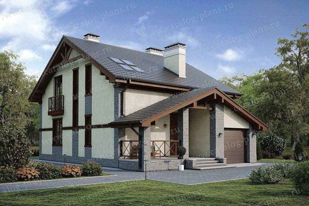 Проект жилой дом #57-09 материал - газобетон, стиль скандинавский