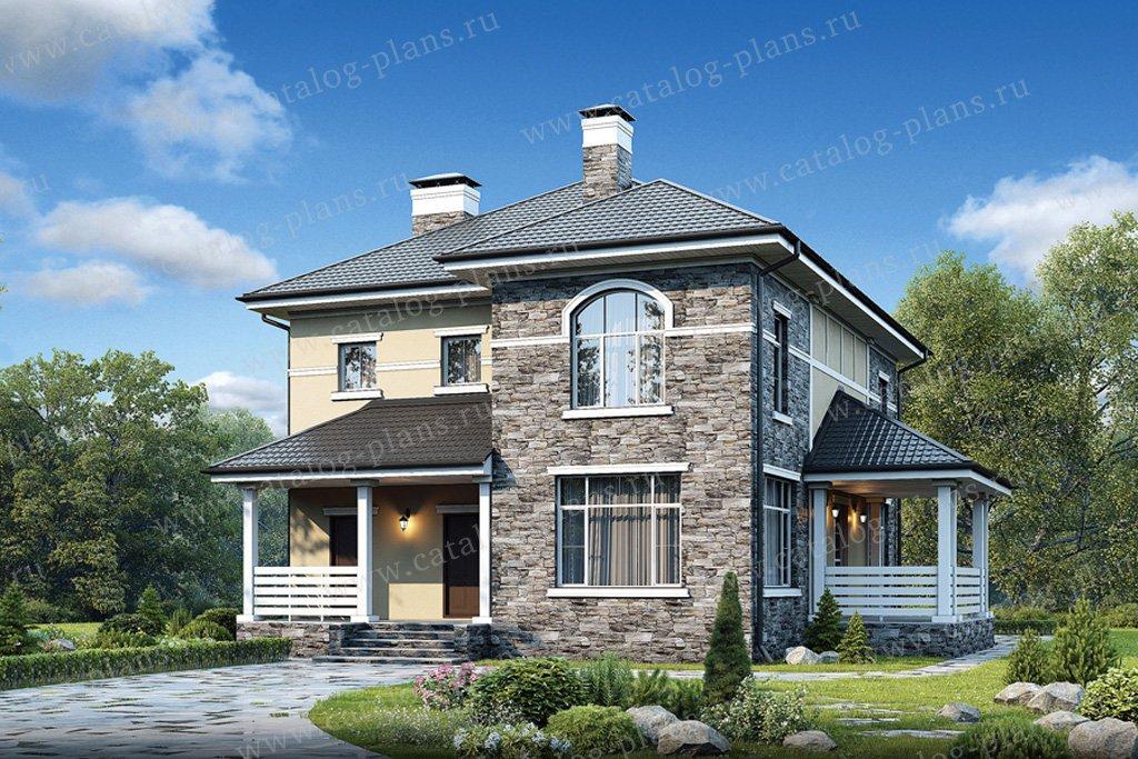 Проект жилой дом #57-03K материал - кирпич, стиль европейский