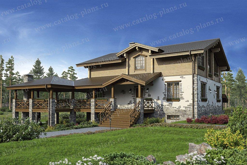 Проект жилой дом #80-12 материал - комбинированный, стиль шале