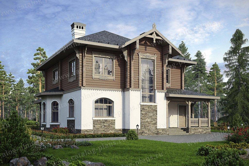 Проект жилой дом #80-14 материал - комбинированный, стиль русская усадьба