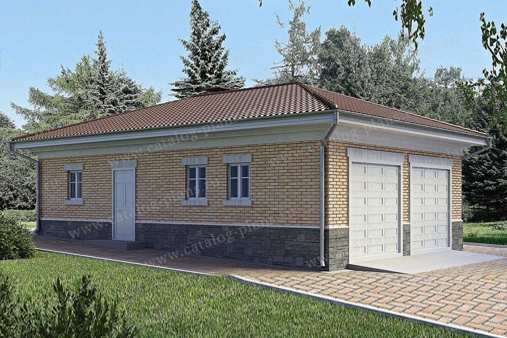 Проект гараж #90-09 материал - газобетон, стиль европейский
