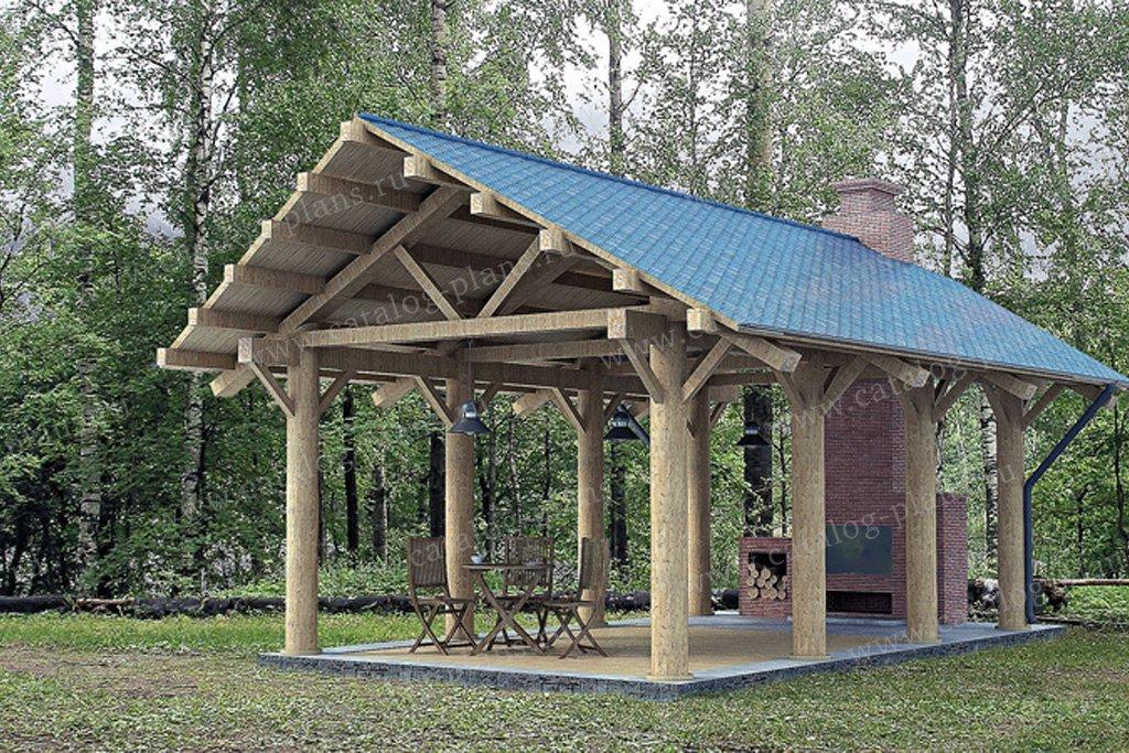 Проект беседка/барбекю #90-08 материал - дерево, стиль скандинавский