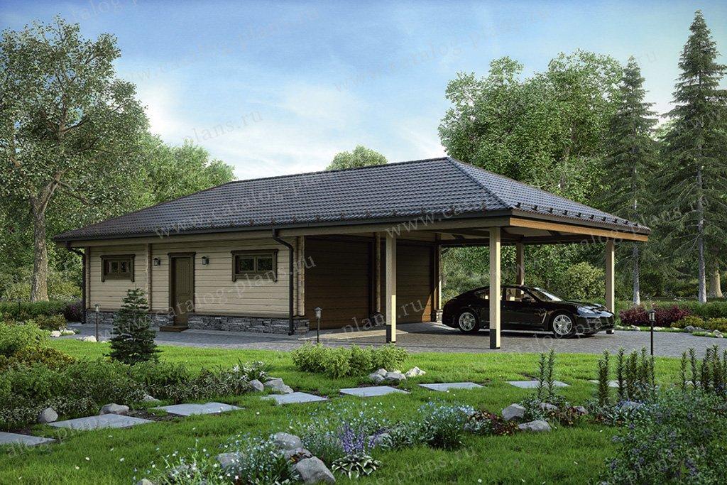 Проект гараж #70-49 материал - дерево, стиль европейский