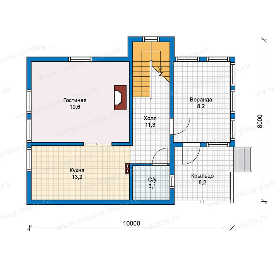 План 1-этажа проекта 70-45