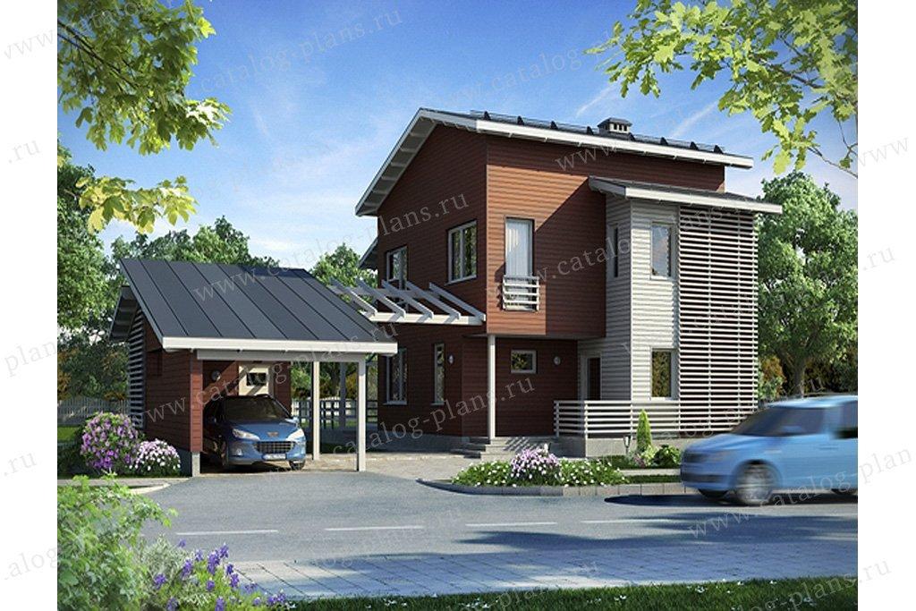 Проект жилой дом #70-25 материал - каркас, стиль хай-тек