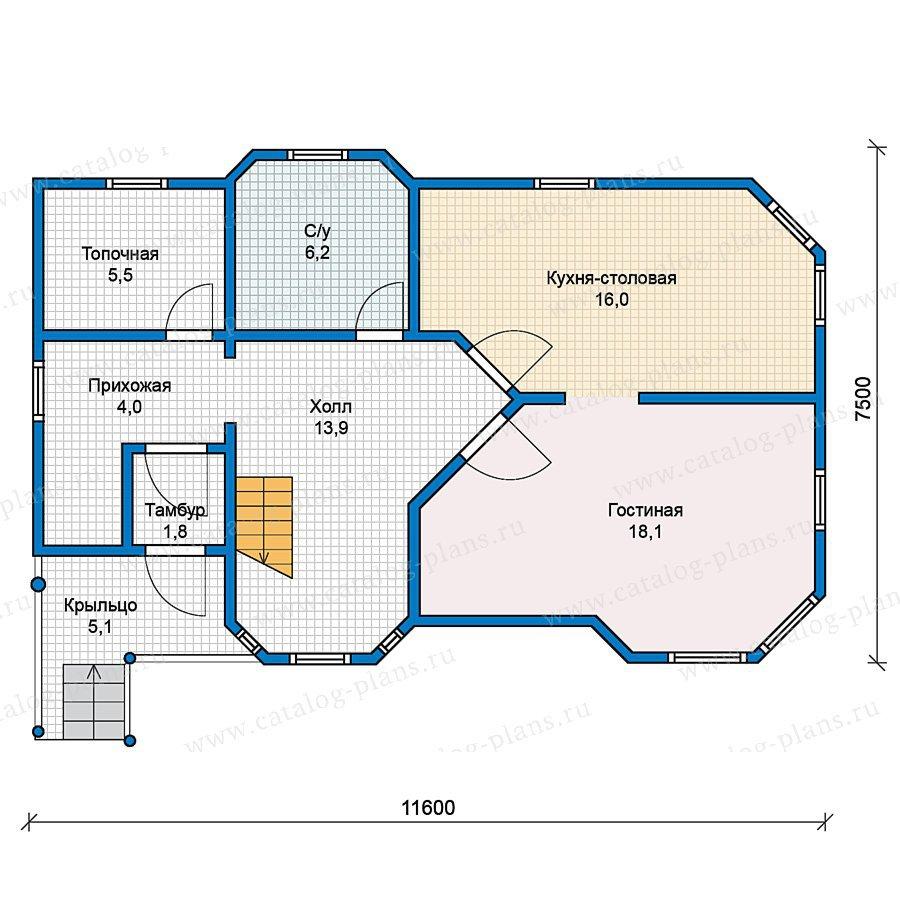 План 1-этажа проекта 70-52