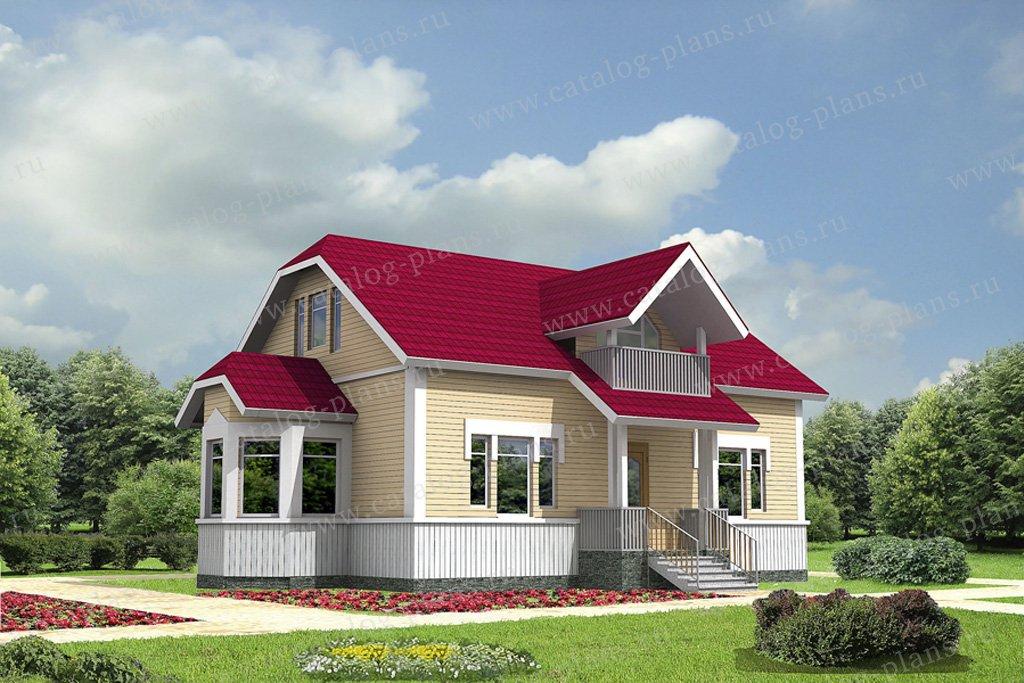 Проект жилой дом #70-04 материал - каркас, стиль русская усадьба
