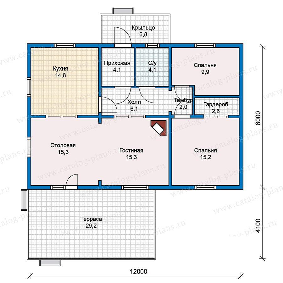 План 1-этажа проекта 70-30