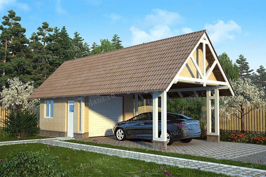 Проект гараж #70-36 материал - каркас, стиль скандинавский