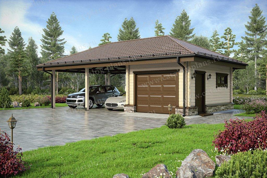 Проект гараж #70-48 материал - дерево, стиль скандинавский