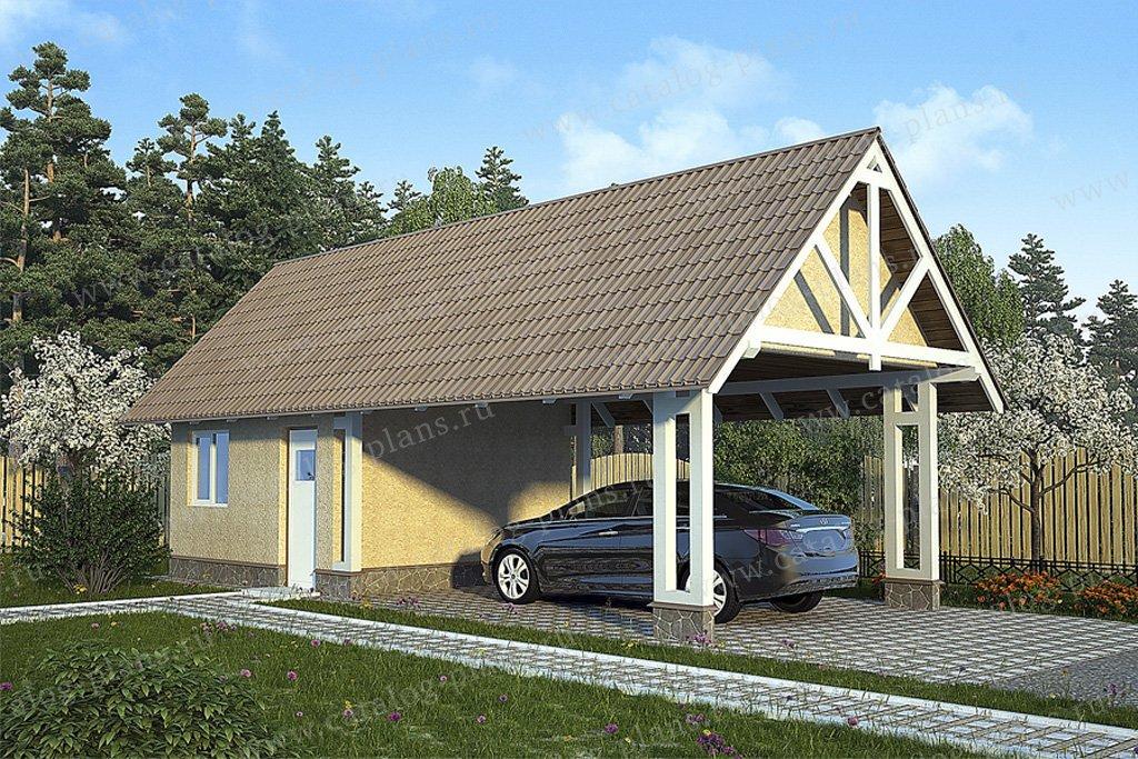 Проект гараж #70-34 материал - каркас, стиль скандинавский