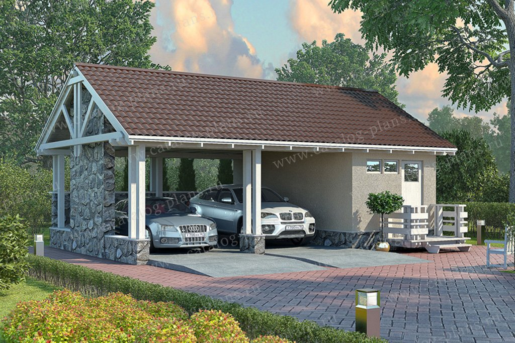Проект гараж #70-32 материал - каркас, стиль норвежский