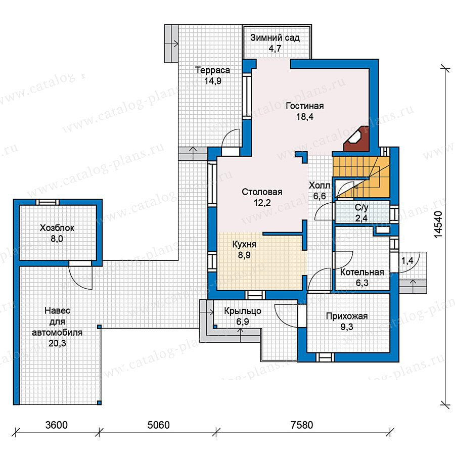 План 1-этажа проекта 70-25