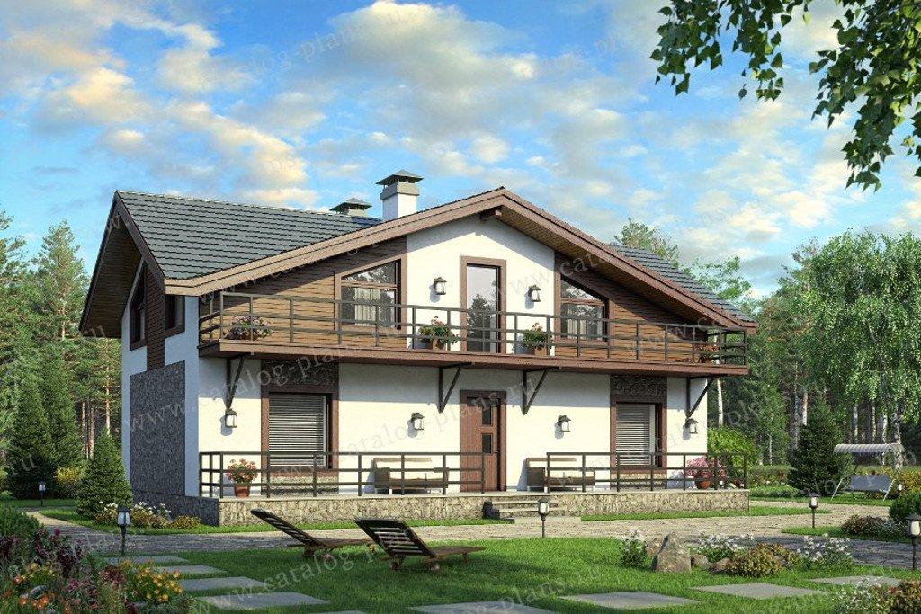 Проект жилой дом #90-39 материал - кирпич, стиль шале