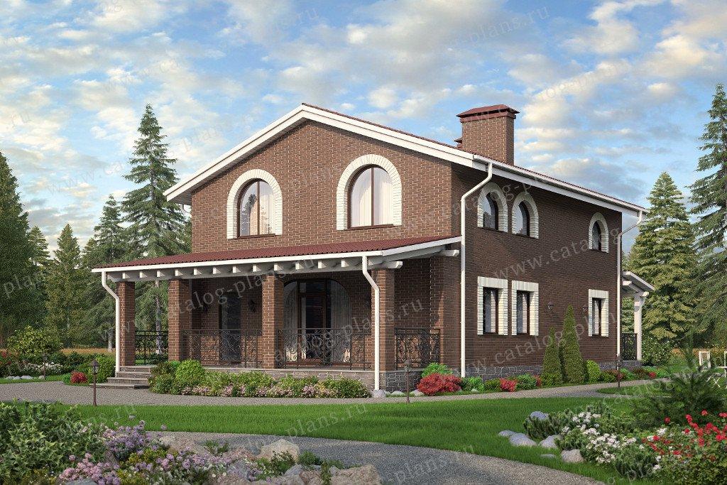 Проект жилой дом #90-24 материал - кирпич, стиль средиземный