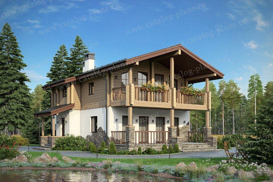 Проект жилой дом #80-15 материал - комбинированный, стиль скандинавский