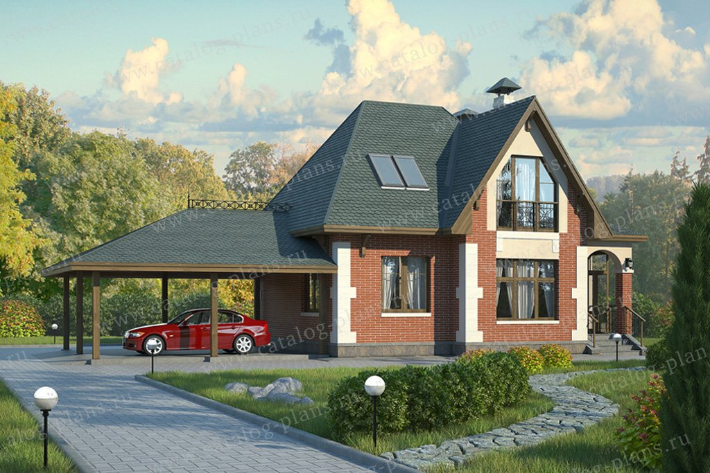 Проект жилой дом #59-06 материал - газобетон, стиль английский