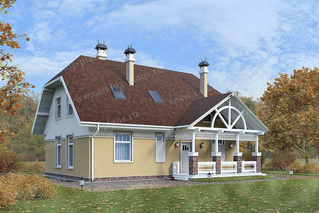 Проект жилой дом #59-32 материал - газобетон, стиль голанский
