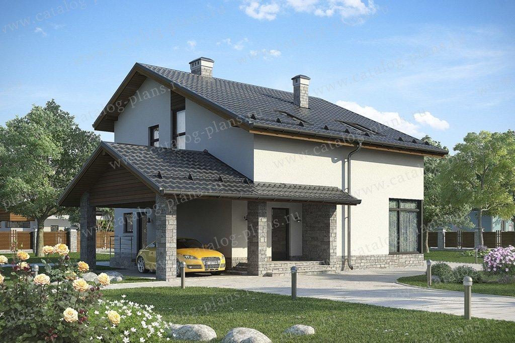 Проект жилой дом #59-27 материал - газобетон, стиль скандинавский
