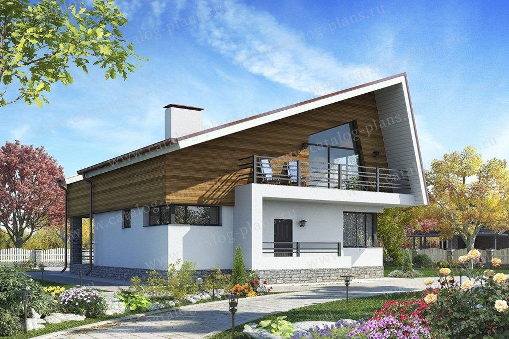 Проект жилой дом #59-73 материал - газобетон, стиль хай-тек