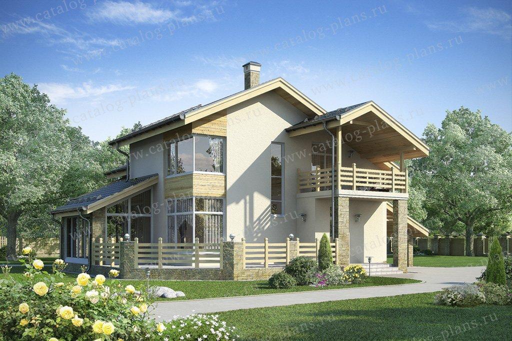 Проект жилой дом #59-68 материал - газобетон, стиль современный