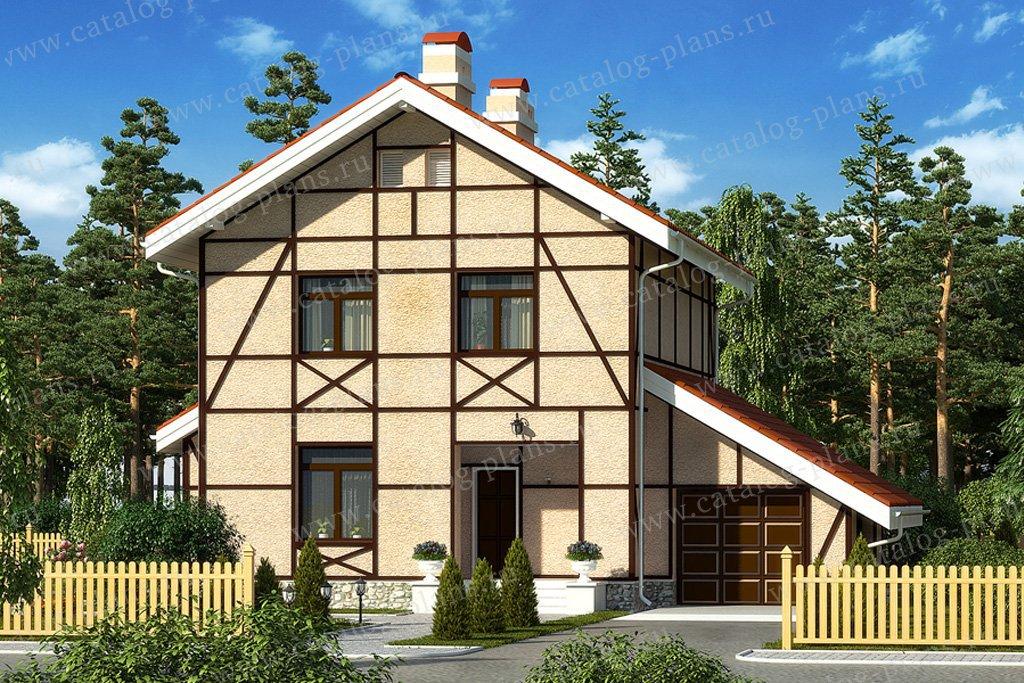 Проект жилой дом #59-45 материал - газобетон, стиль фахверк