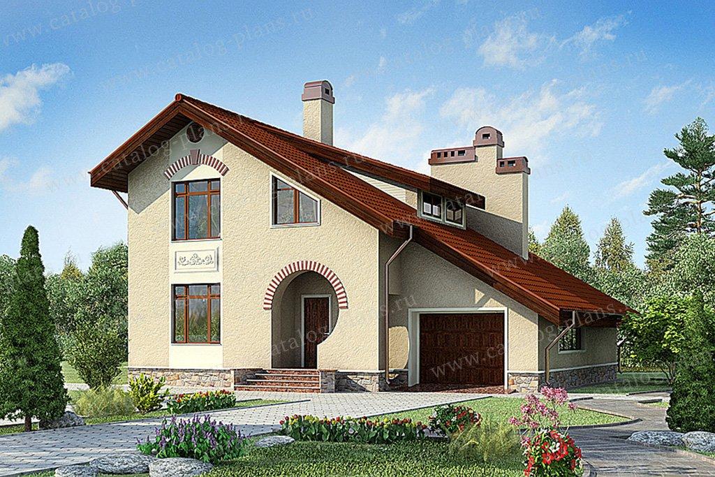 Проект жилой дом #59-49 материал - газобетон, стиль европейский