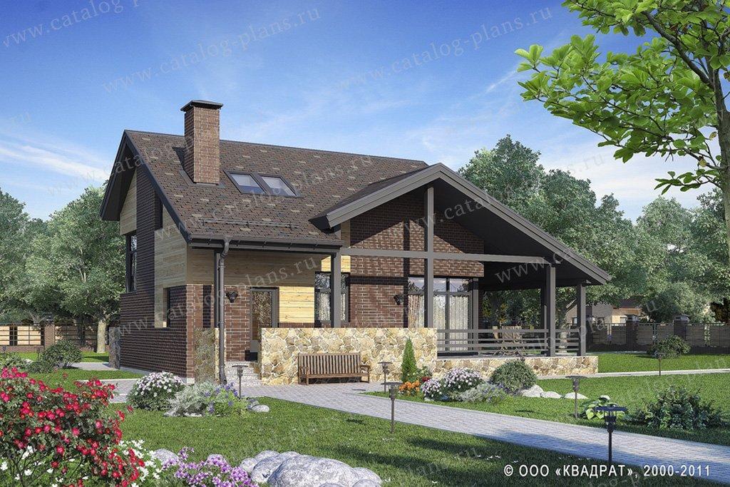 Проект жилой дом #59-72 материал - газобетон, стиль скандинавский